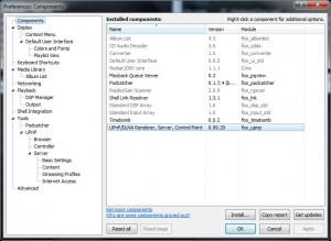 foobar2000 components settings